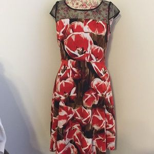 Liz Claiborne brand woman's 10 dress Red floral